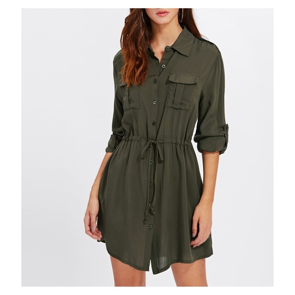 06e93490f02 Army Green Drawstring Button Down Shirt Dress